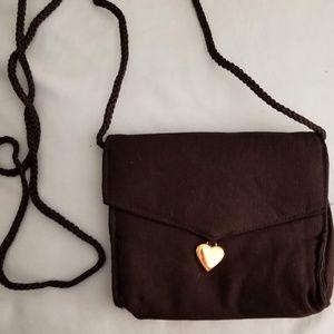 Black Evening Bag Gold Heart Closure Cute Purse
